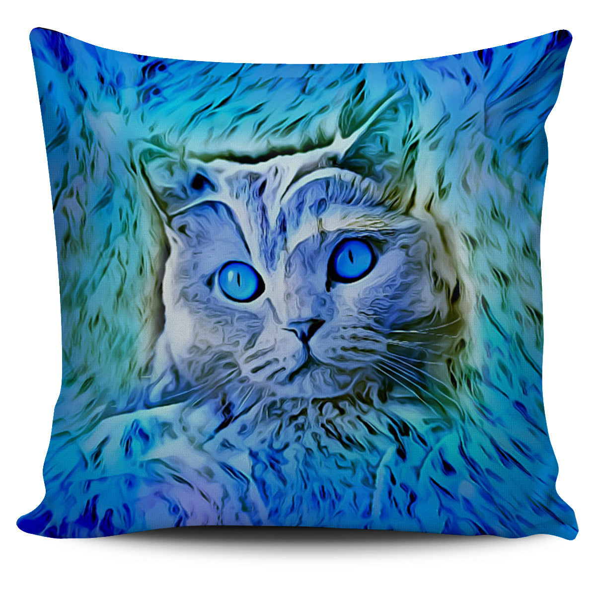 Blue Cat Pillow Cover