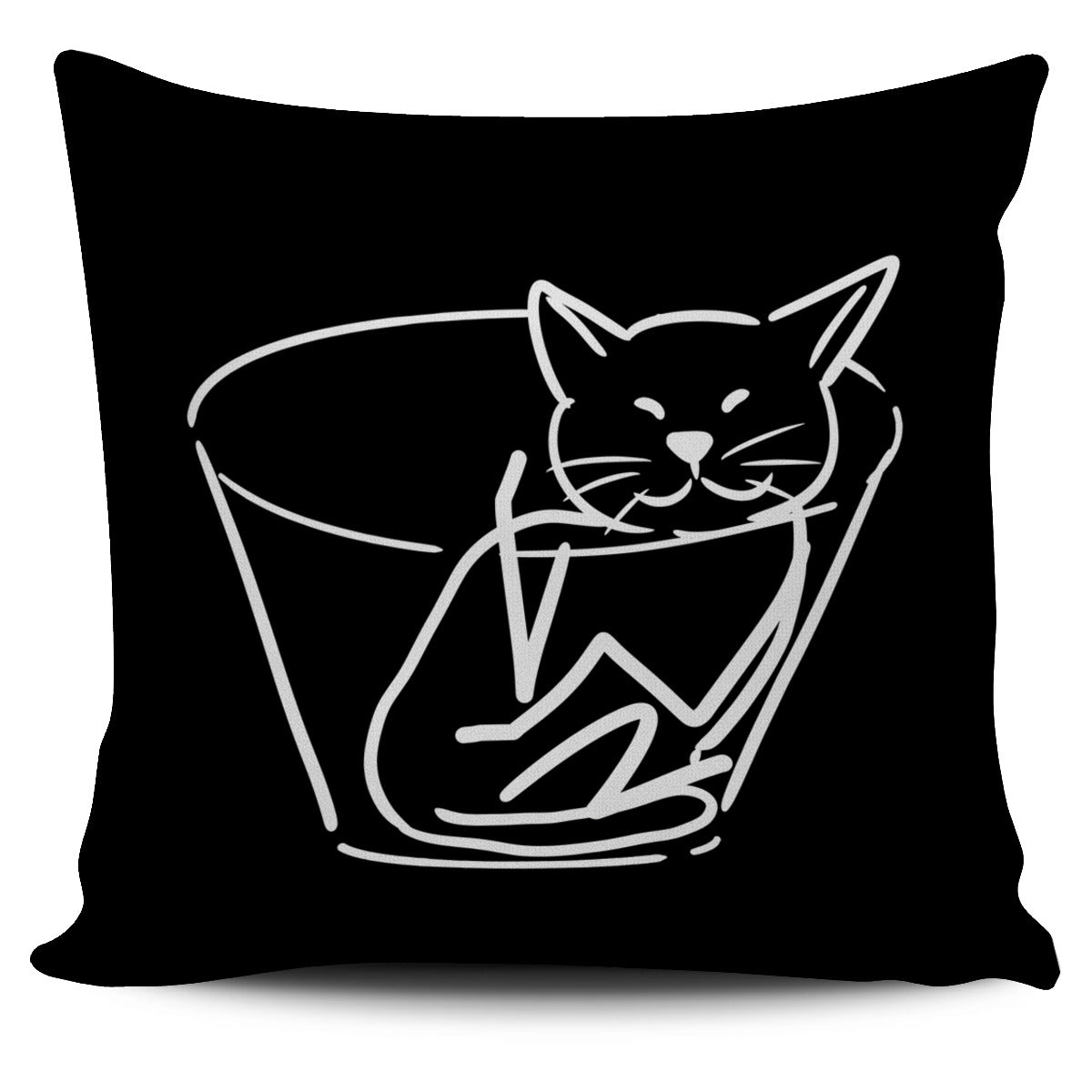 Chilled Cat black Pillow