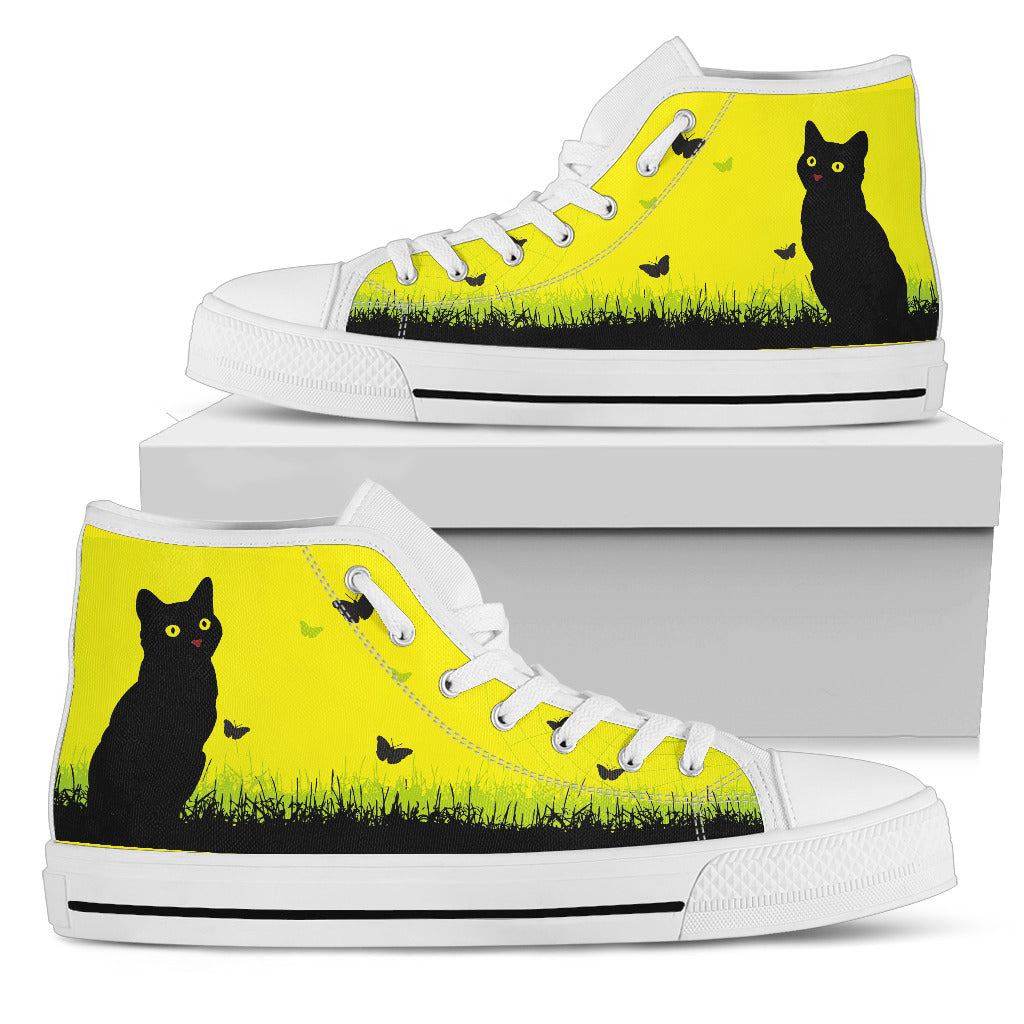 Cat Yellow Art Women's High Top
