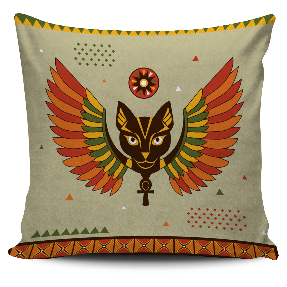 Egyptian Cat with Wings Pillow Cover