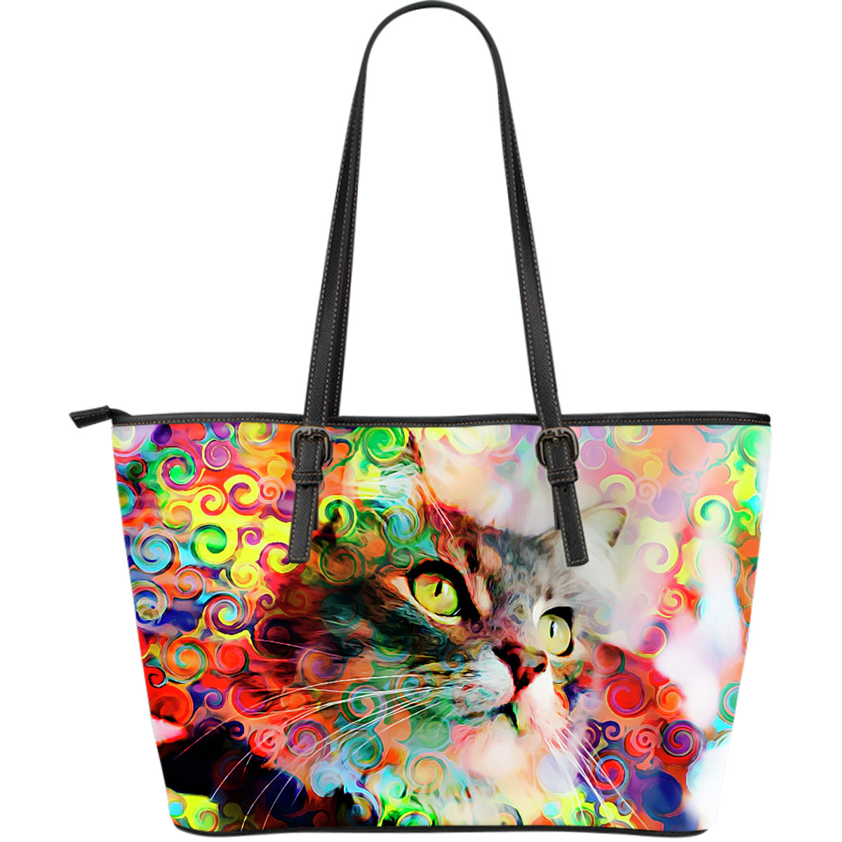 Rainbow Cat Large Leather Tote Bag