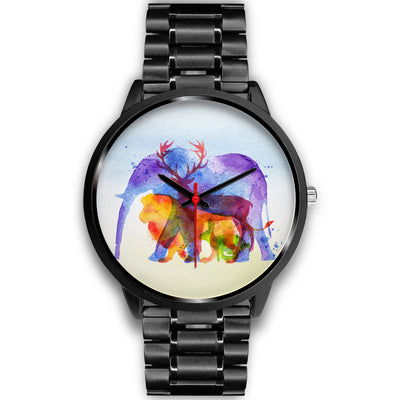 Elephant & wildlife love stainless steel watch gift