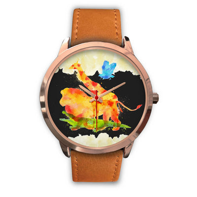 Animals Overprint Lion stainless steel watch