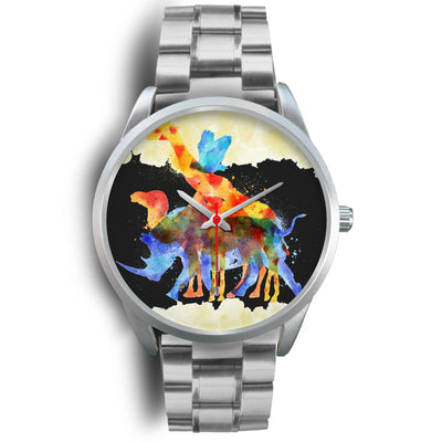 Animals Overprint Rrhino Stainless Steel Watch