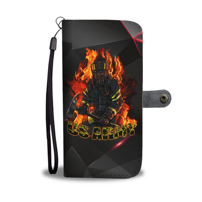 VIRA Leather-like Material Wallet Case For US Firefighter
