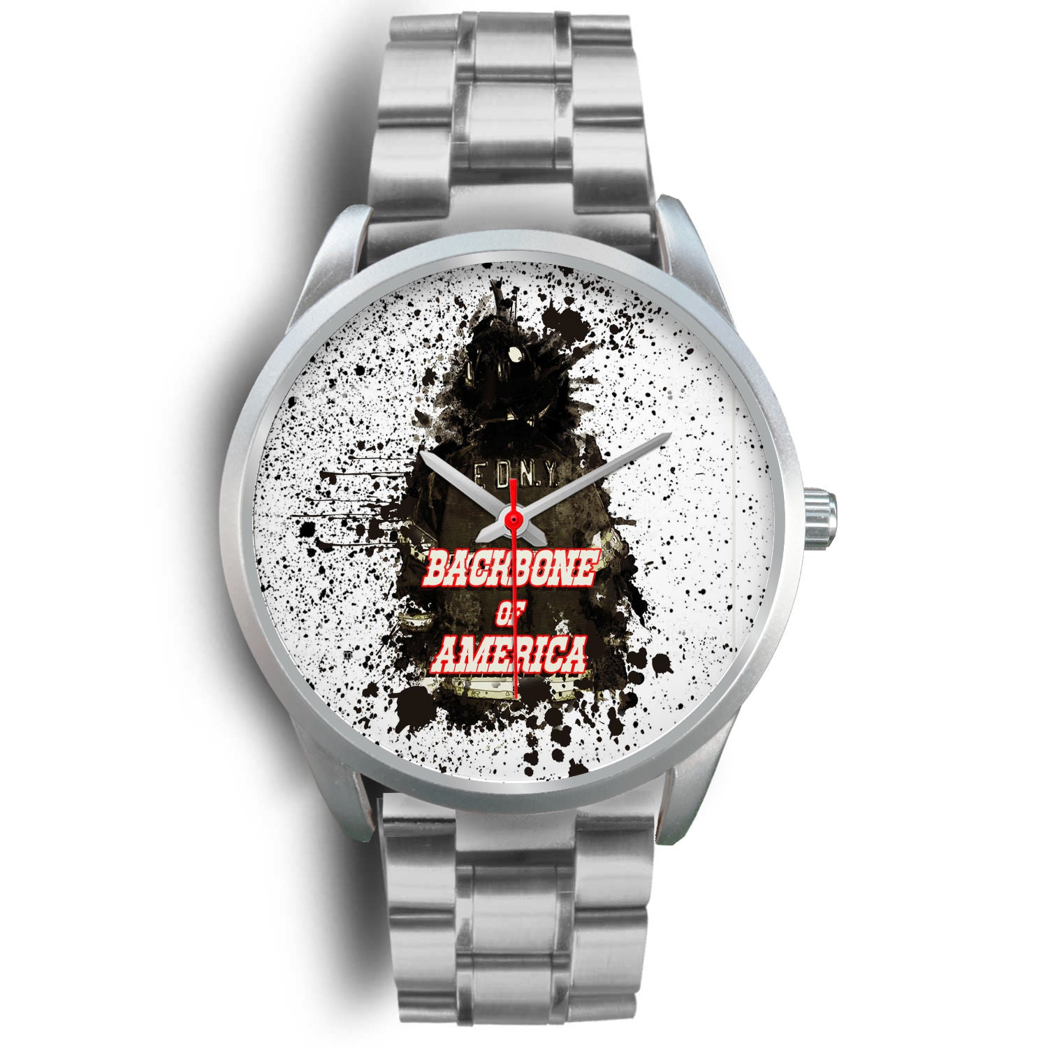 VIRA SILVER STAINLELSS STEEL WATCH FOR AMERICA FIREFIGHTER LOVERS