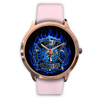 VIRA PINK REAL LEATHER WATCH FOR FIREFIGHTER LOVERS