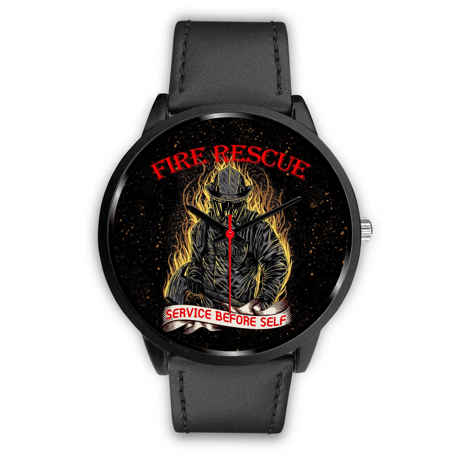 VIRA BLACK REAL LEATHER WATCH FOR FIREFIGHTER LOVERS