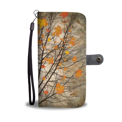 VIRA Maple Leaves Leather- like Wallet Case For Autumn Lovers