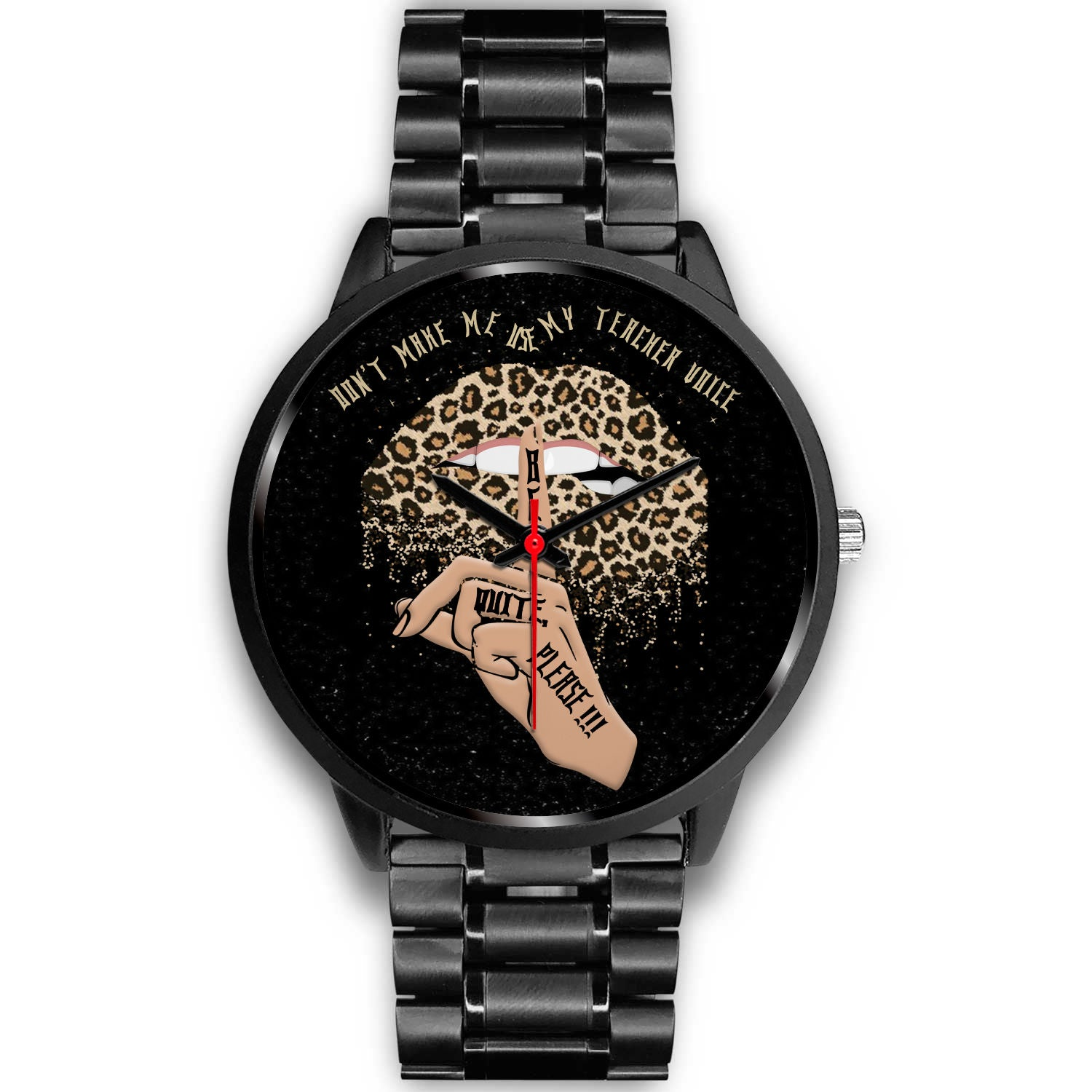 VIRA Leopard Sexy Lips Black Stainless Steel Watch For Awesome Teachers
