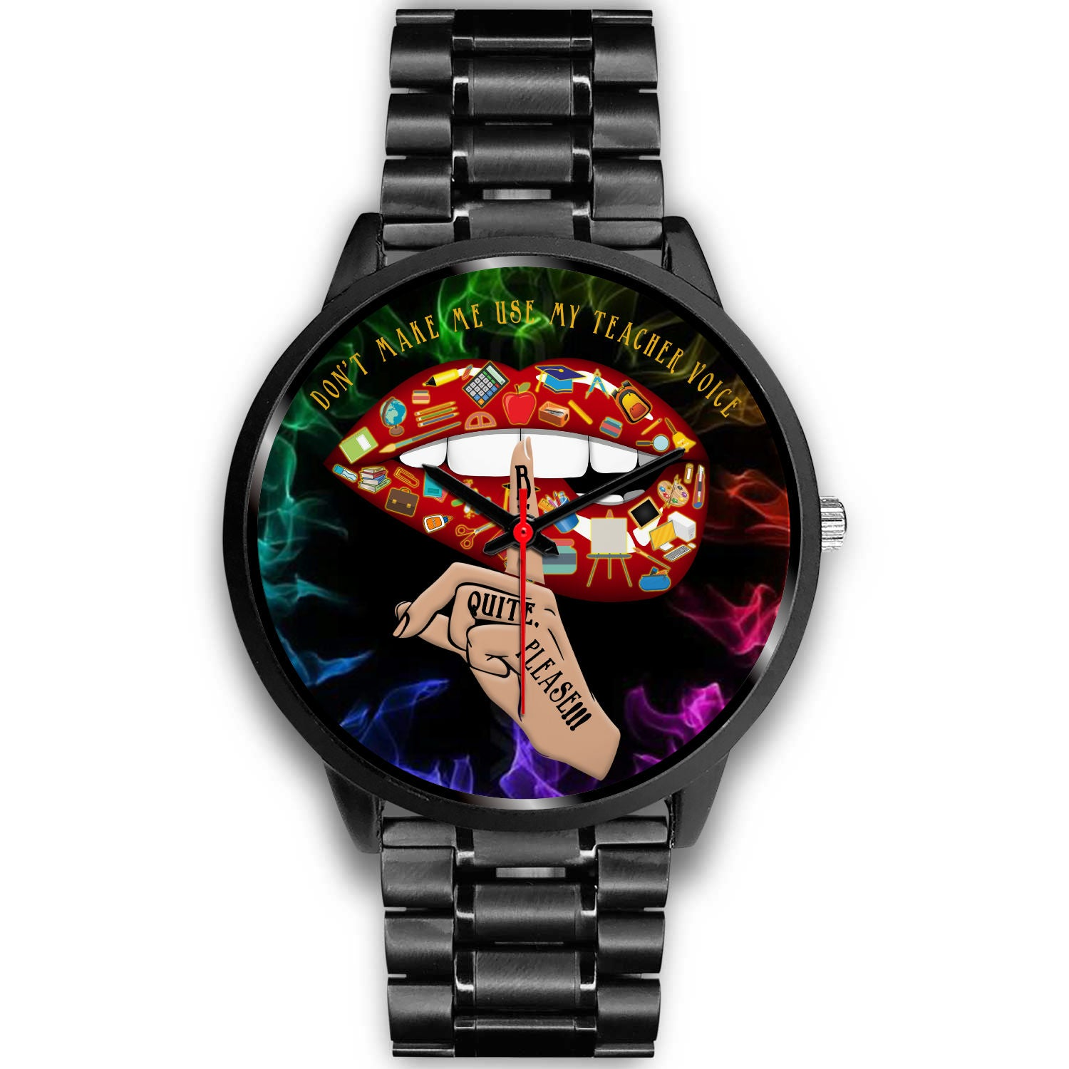 VIRA Sexy Lips Black Stainless Steel Watch For Awesome Teachers