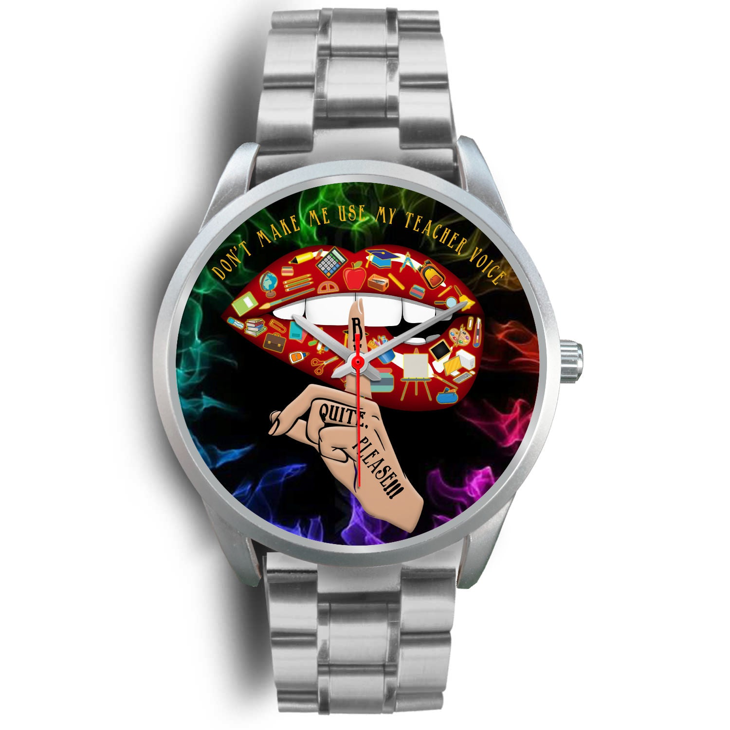 VIRA Sexy Lips Silver Stainless Steel Watch For Awesome Teachers