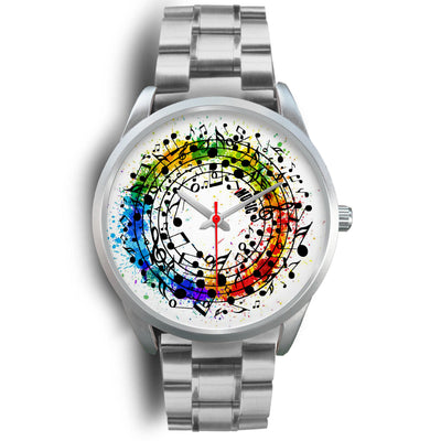 VIRA Colorful Note Circle Silver Stainless Steel Watch For Awesome Teachers