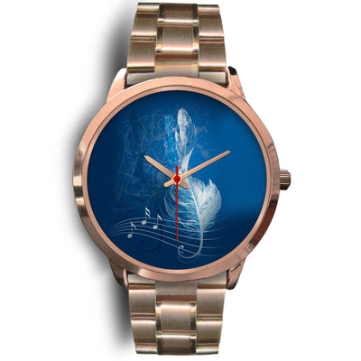 VIRA Feather Note Rose Gold Stainless Steel Watch For Awesome Teachers