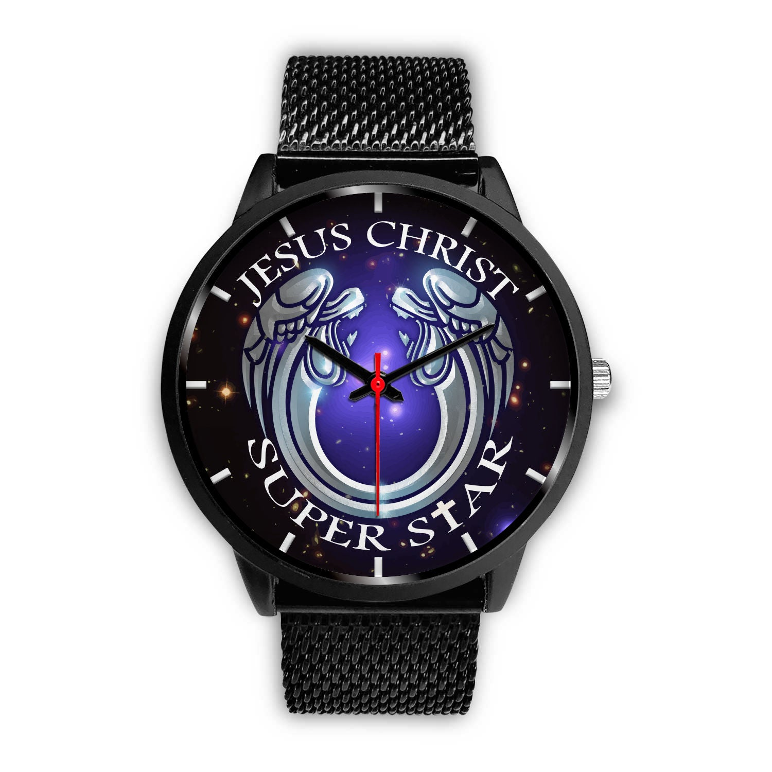 VIRA Black Stainless Steel Watch For Jesus Lovers
