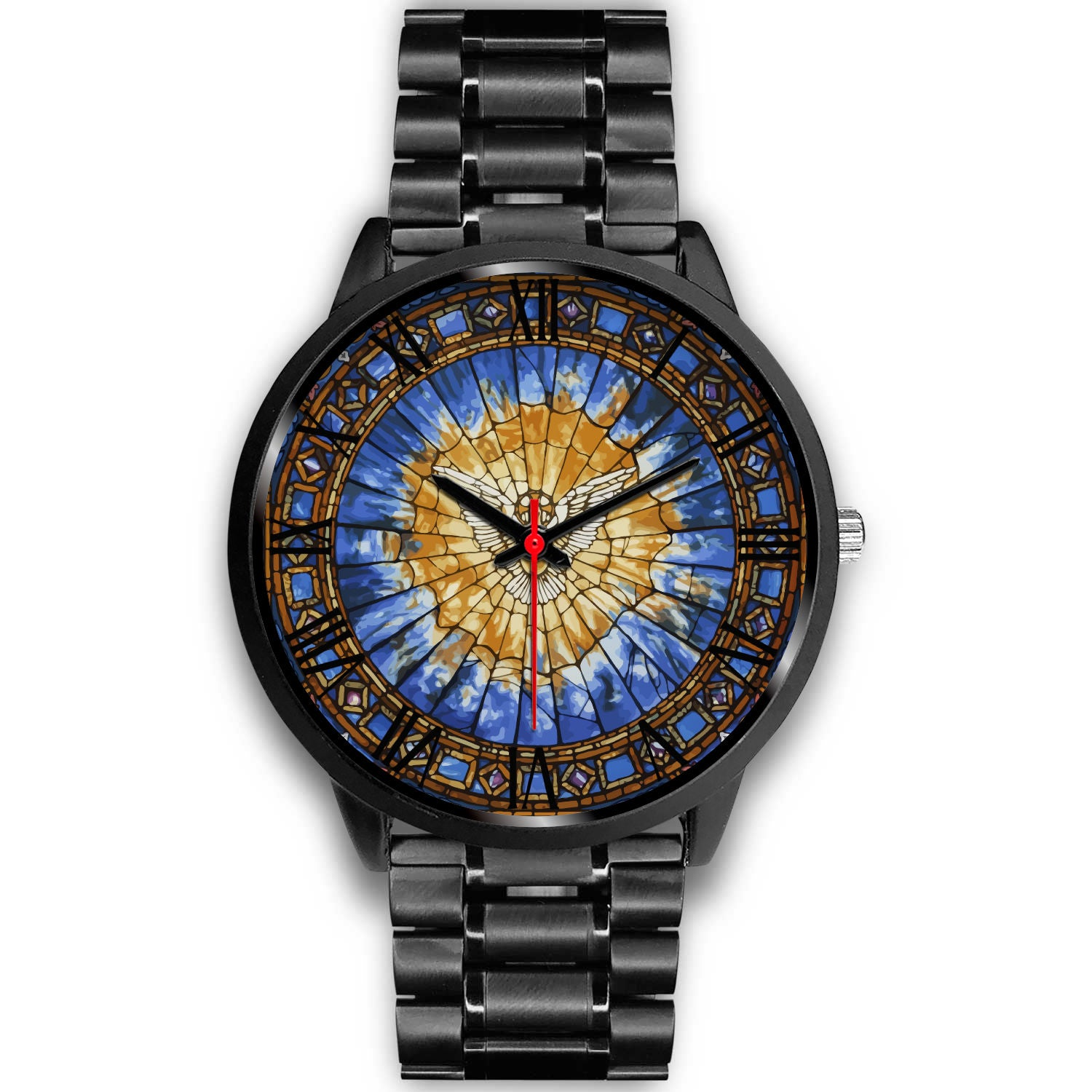 VIRA Awesome Black Stainless Steel Watch For Jesus Lovers