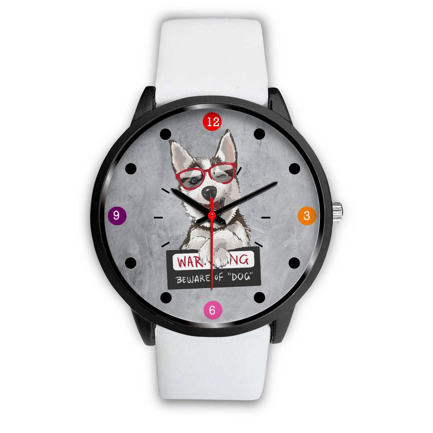 VIRA Black Stainless Steel Watch FOR HUSKY LOVERS