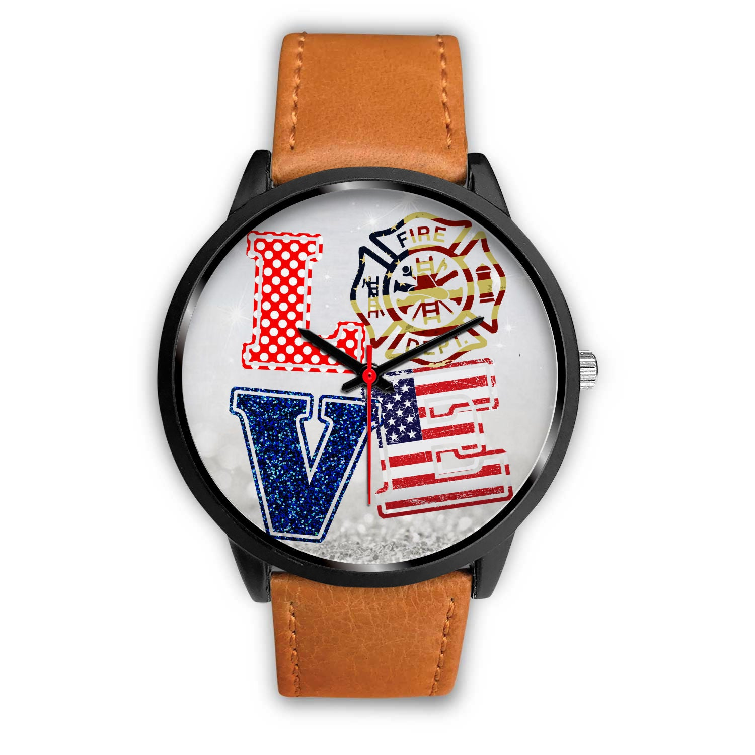 VIRA real genuine leather BAND WATCH FOR FIREFIGHTER LOVERS