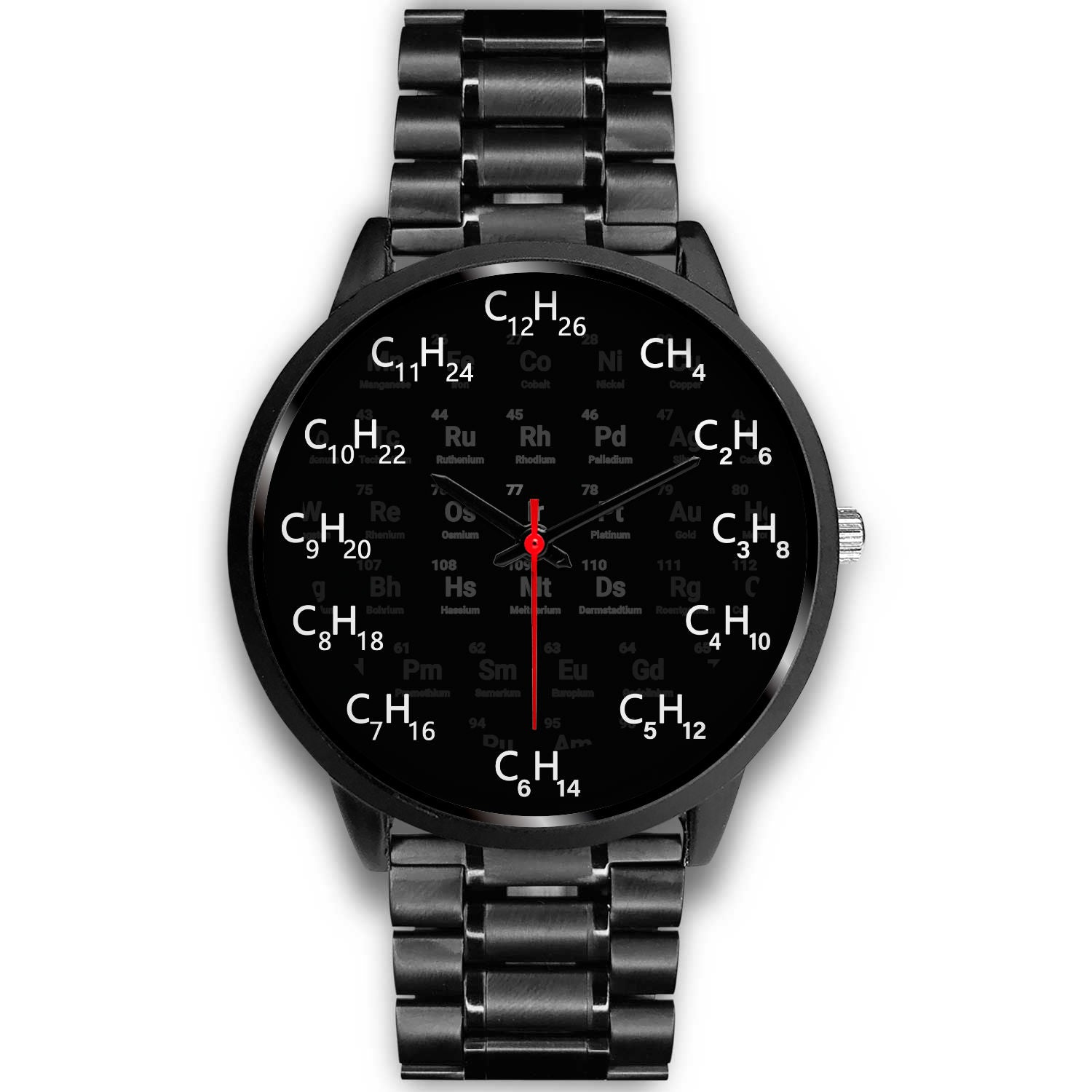 VIRA chemical formula black stainless steel watch for awesome teachers