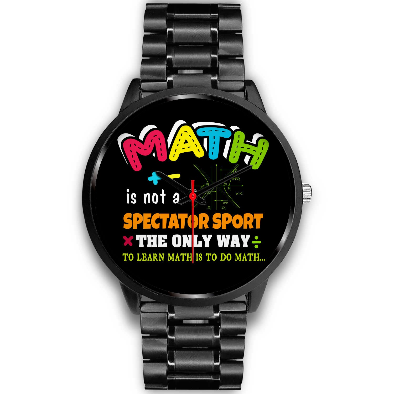 VIRA Math black stainless steel watch for awesome teachers