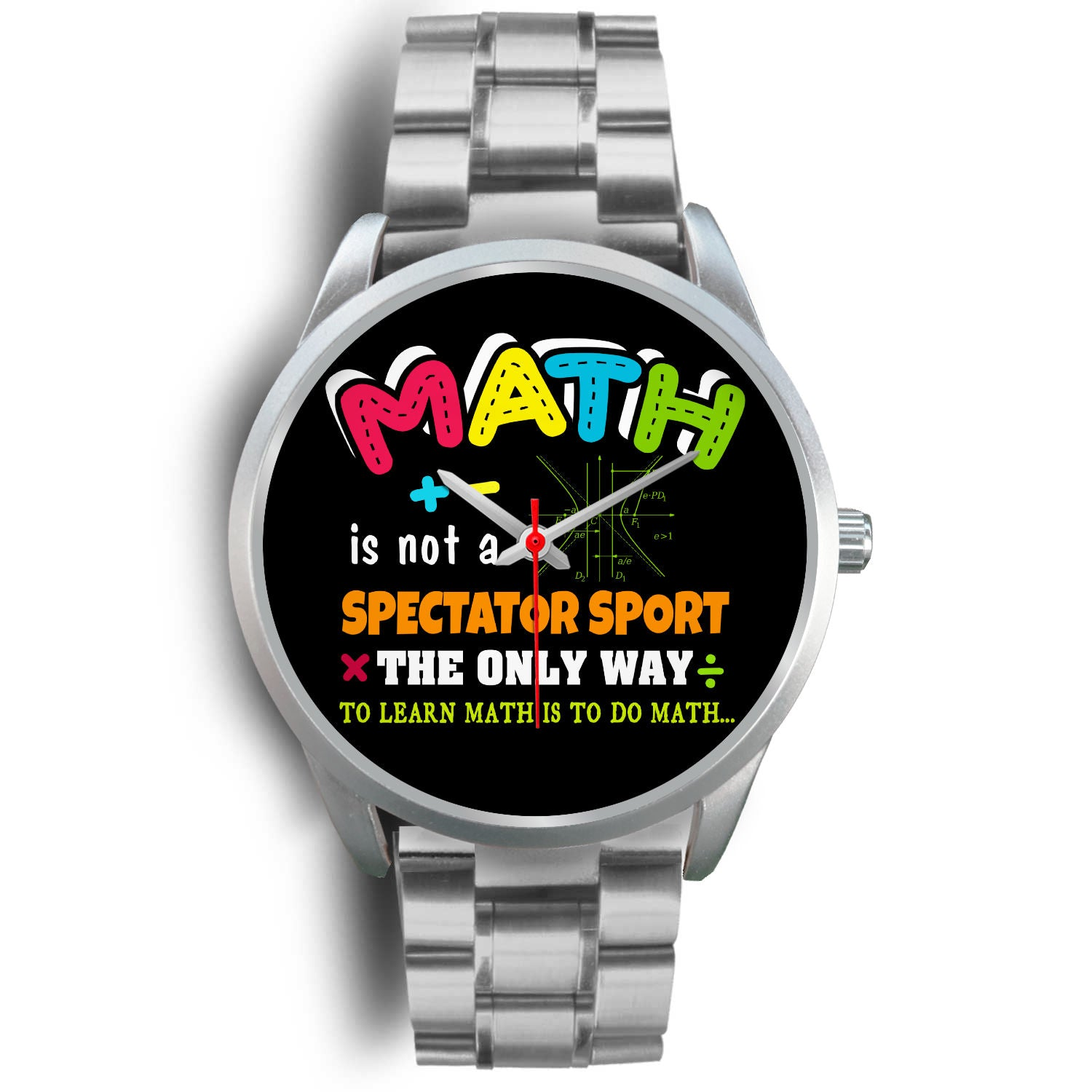 VIRA math silver stainless steel watch for awesome teachers