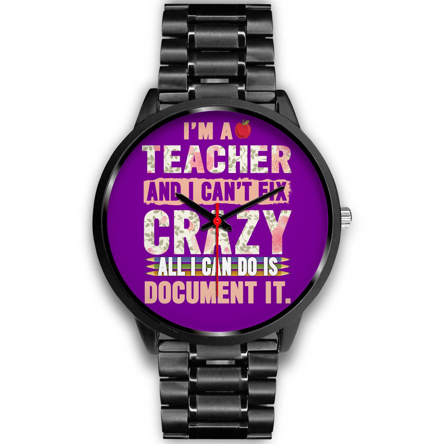 VIRA black stainless steel watch for awesome teachers