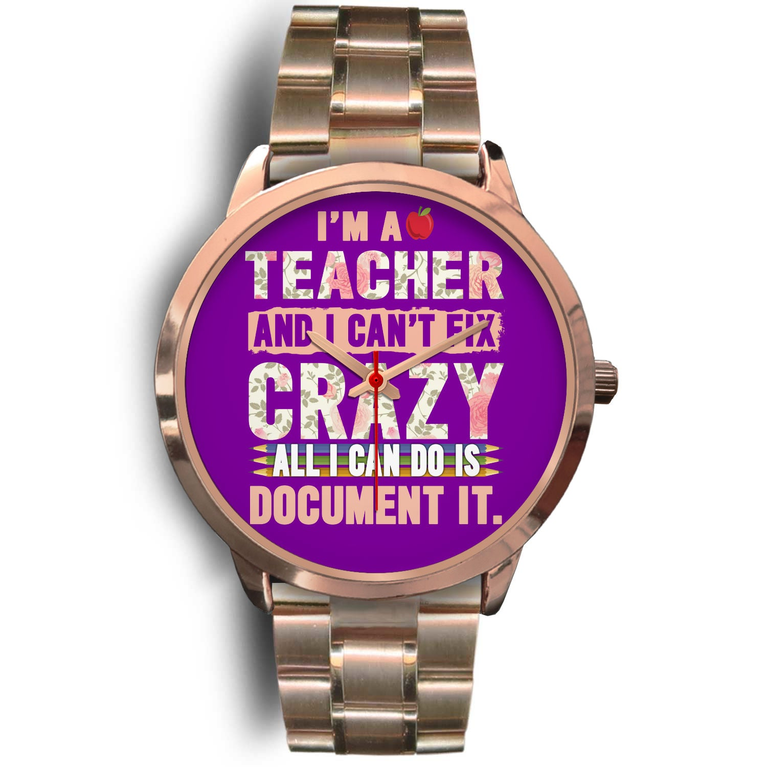 VIRA rose gold stainless steel watch for awesome teachers