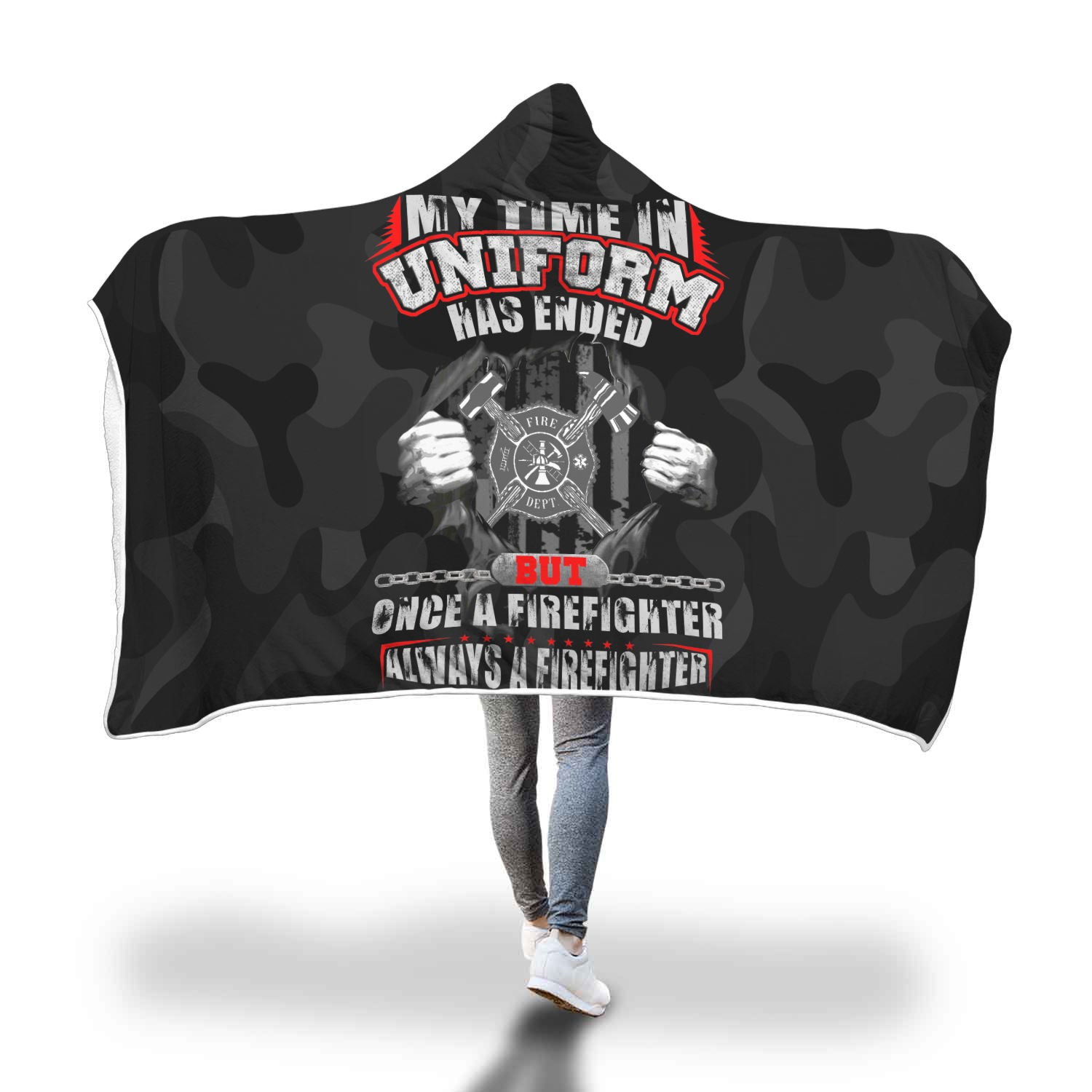 VIRA COZY HOODED BLANKET FOR FIREFIGHTER lovers