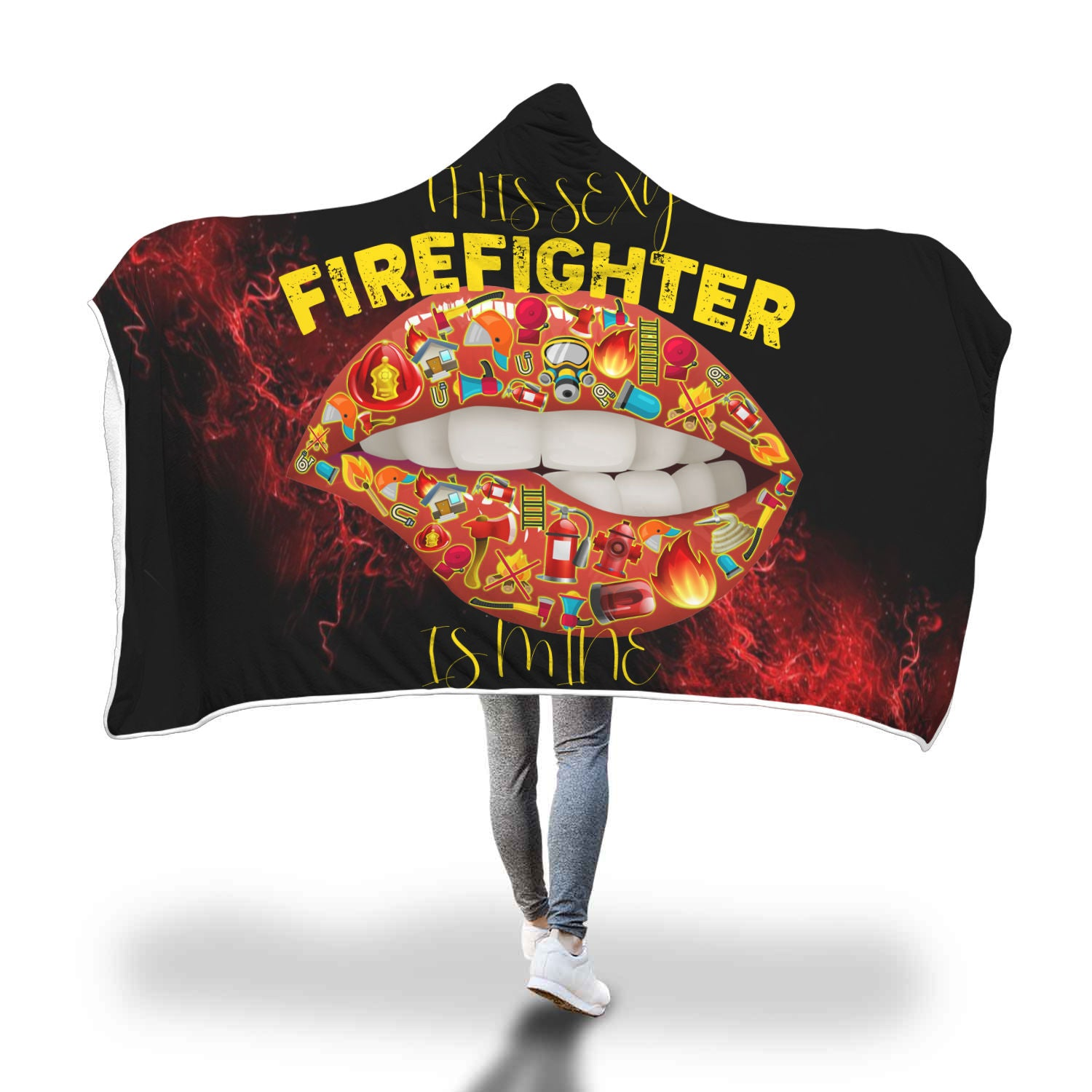 VIRA COZY HOODED BLANKET FOR sexy FIREFIGHTER LOVERS