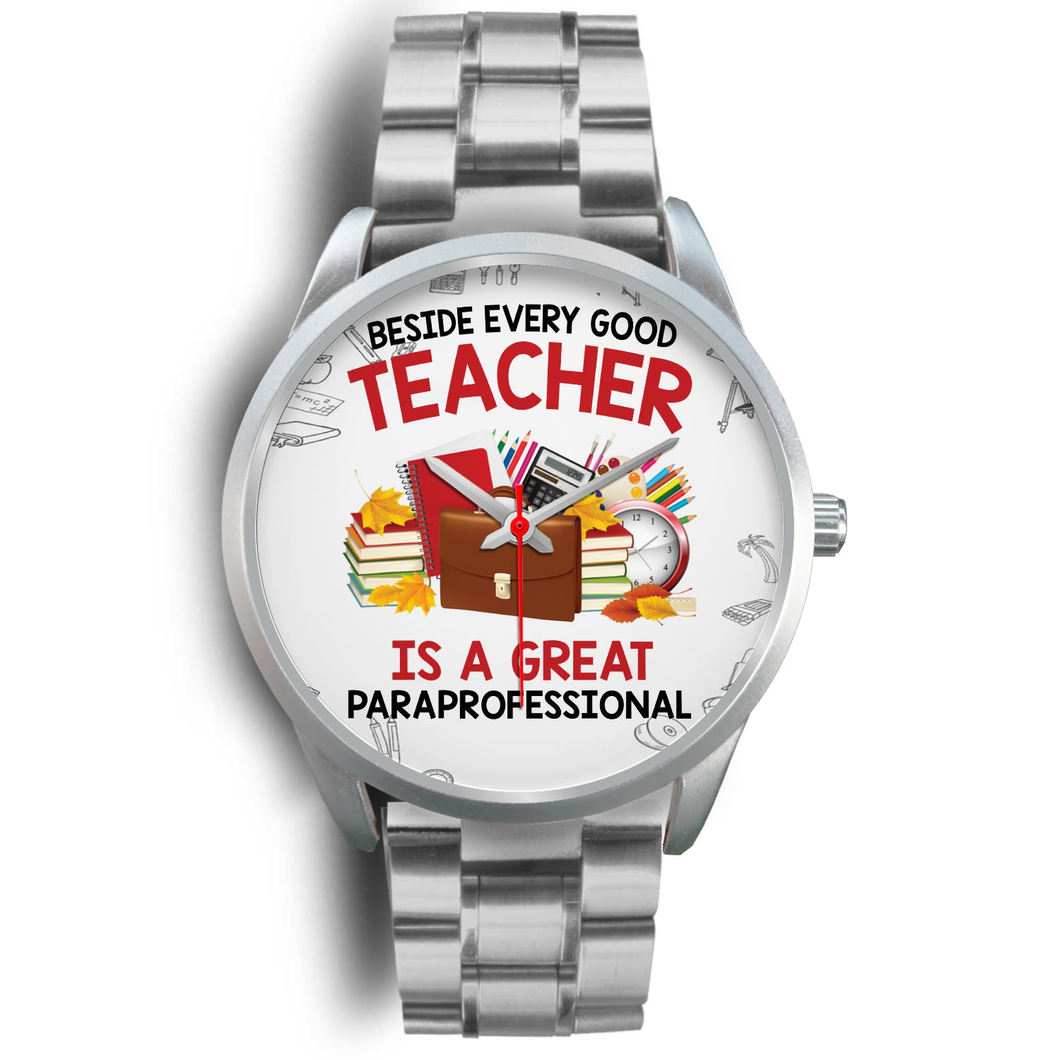 VIRA silver stainless steel watch for awesome teachers & papaprofessionals