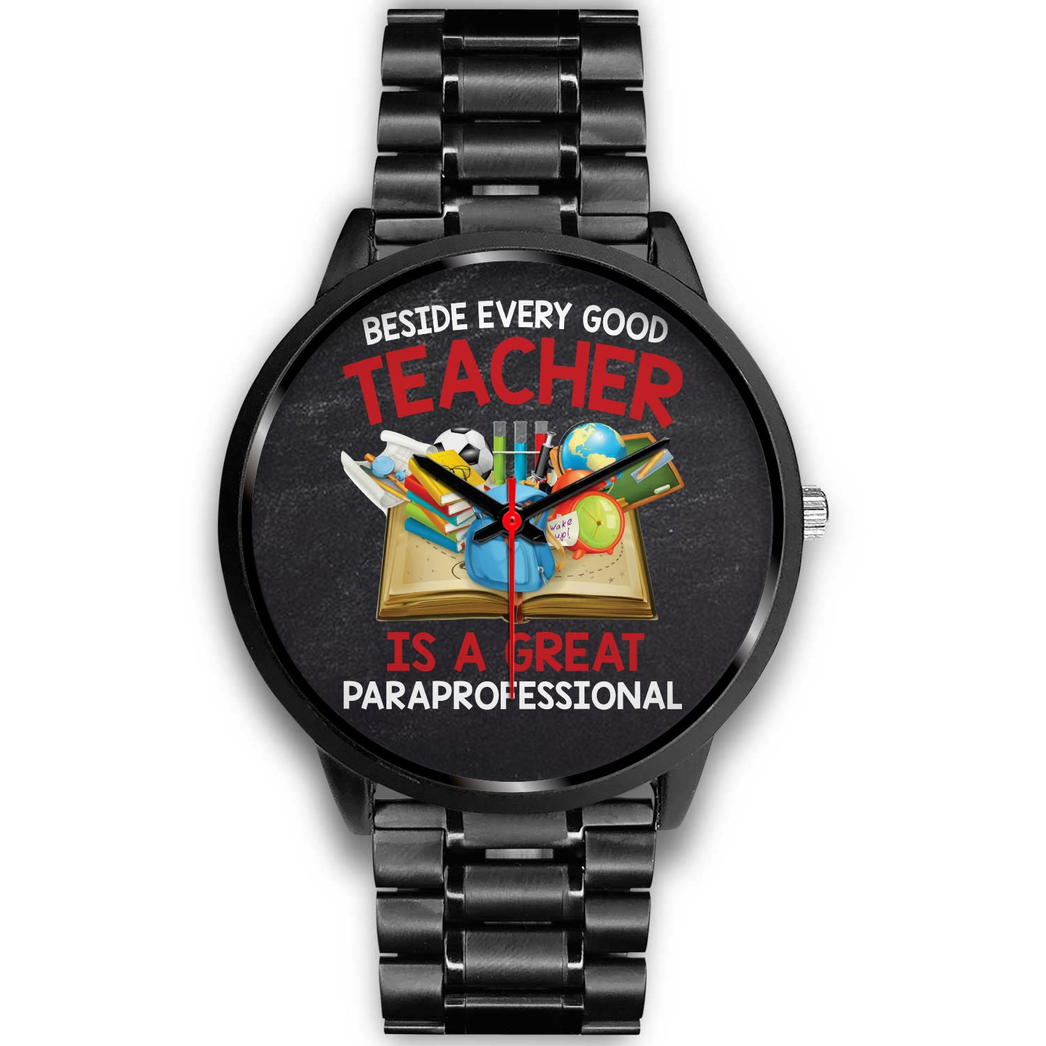VIRA black stainless steel watch for awesome teachers & papaprofessionals