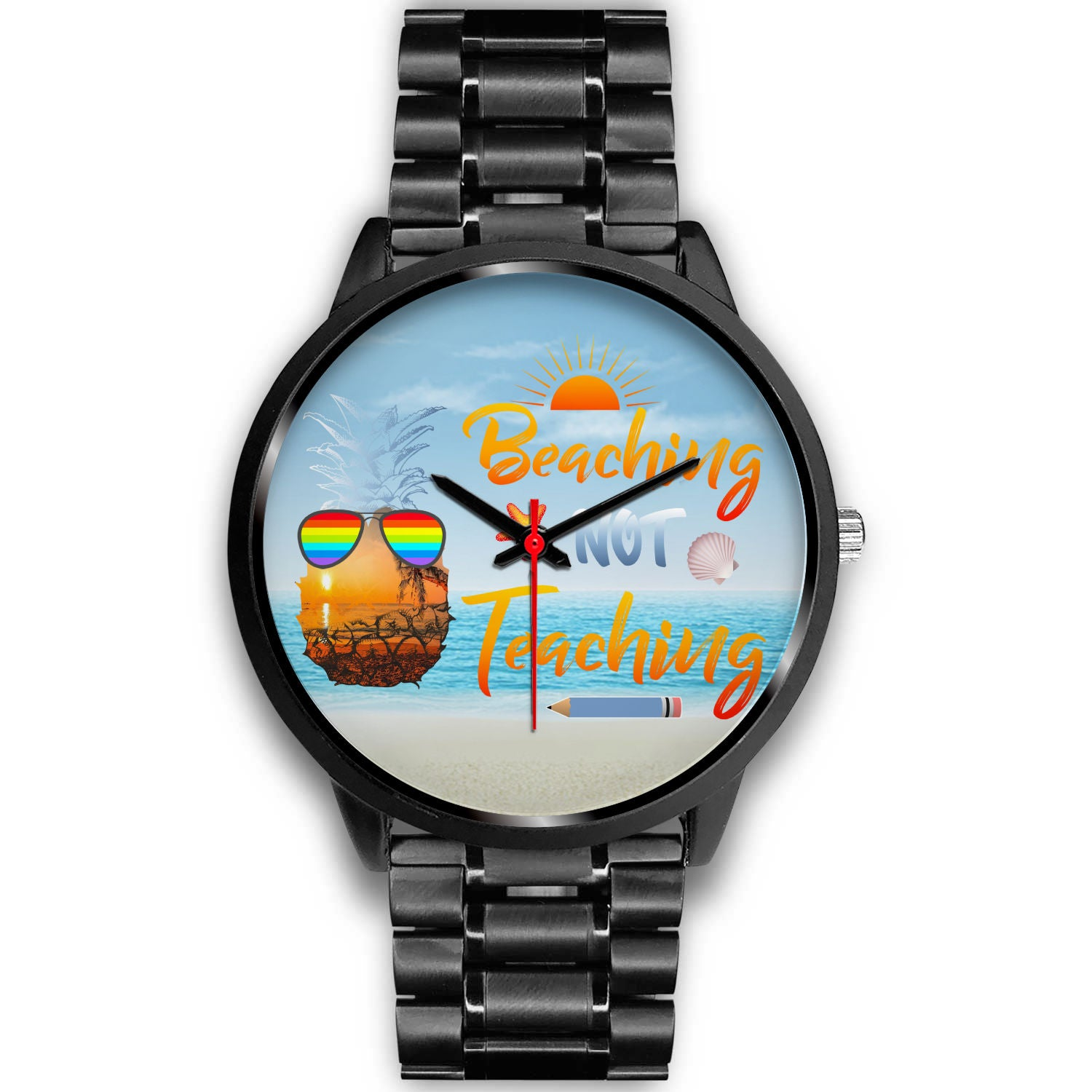 VIRA summer black stainless steel watch for awesome teachers & papaprofessionals