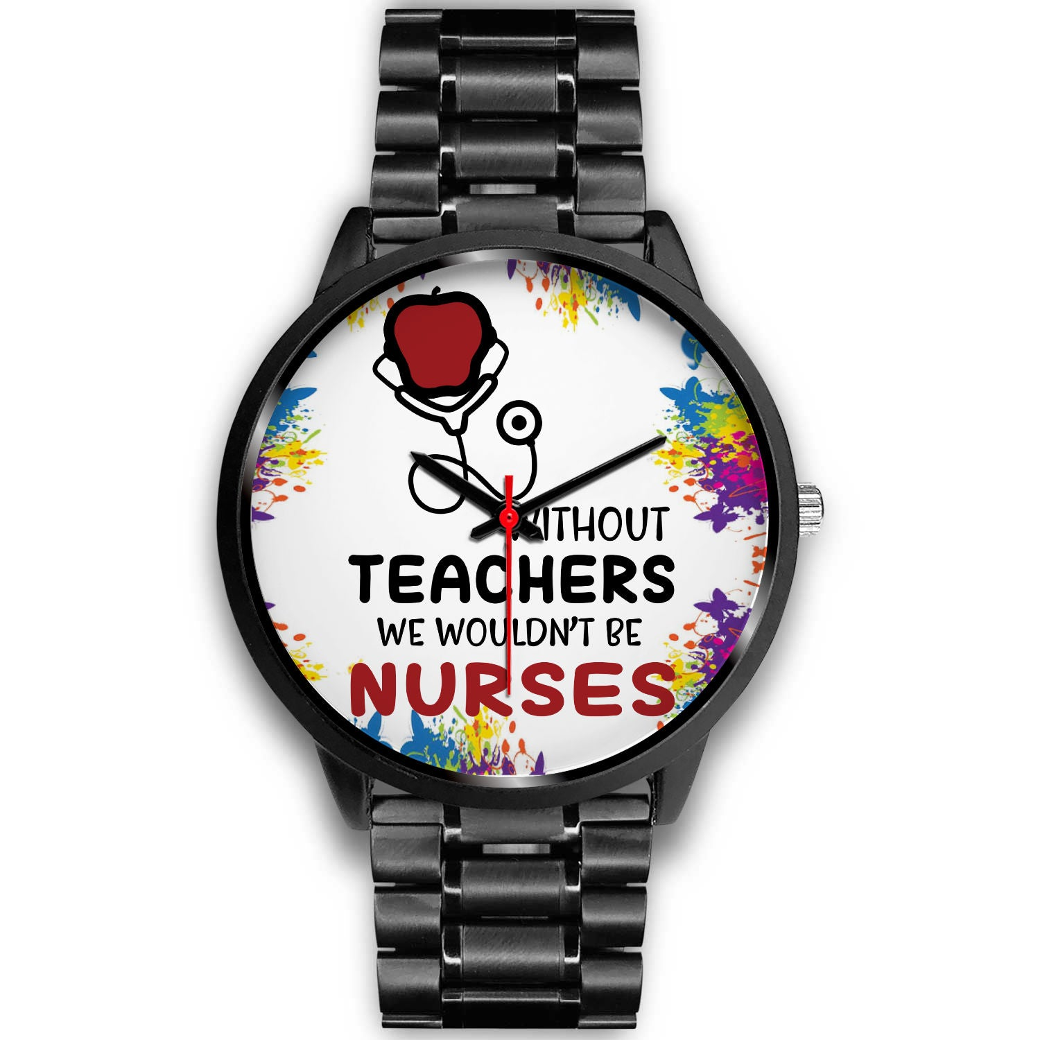 VIRA black stainless steel watch for awesome teachers & nurses