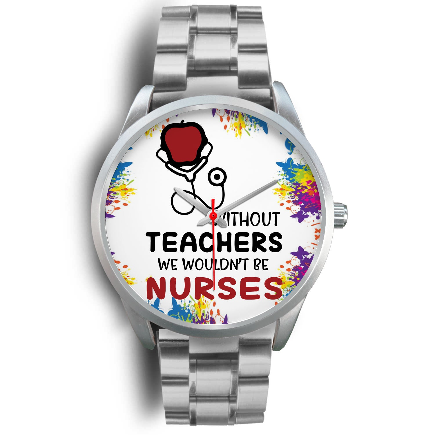 VIRA silver stainless steel watch for awesome teachers & nurses