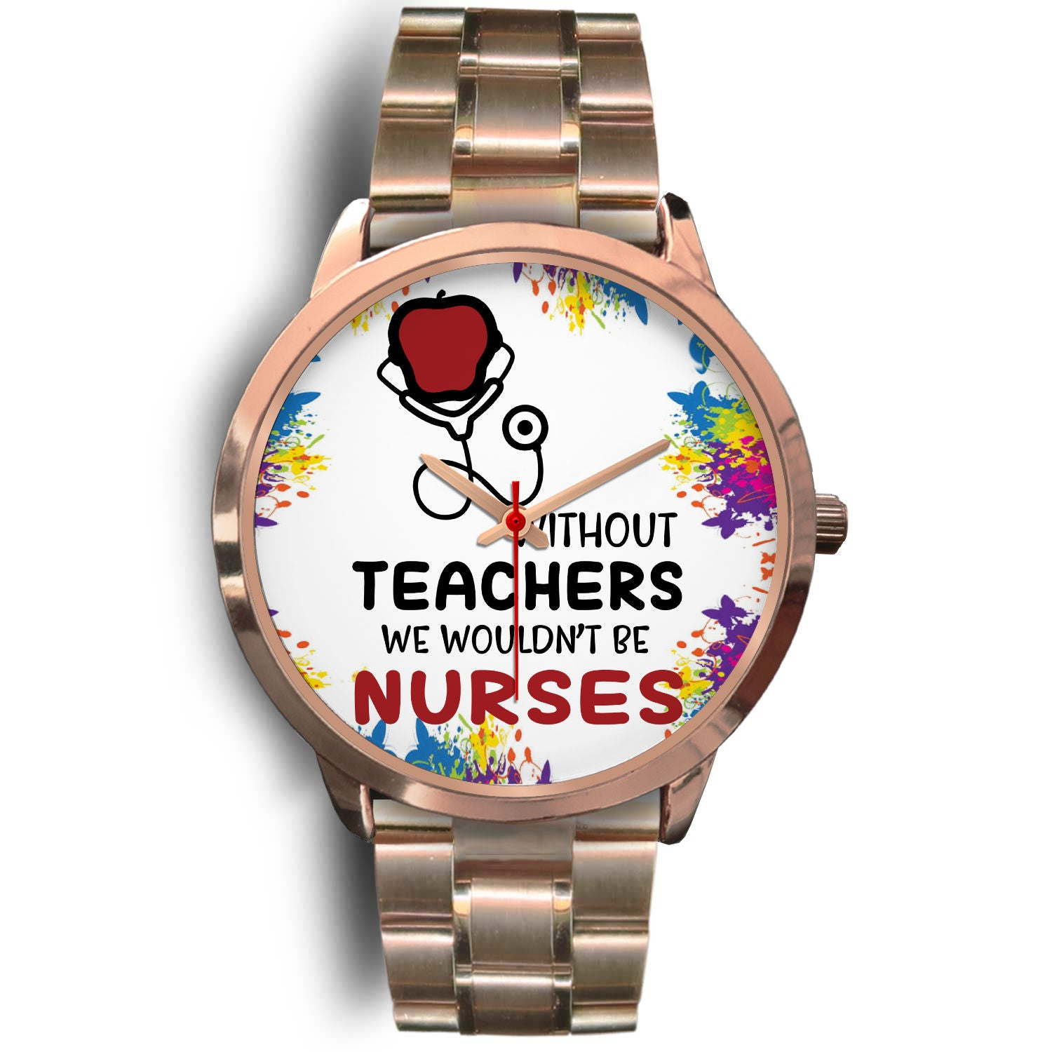 VIRA rose gold stainless steel watch for awesome teachers & nurses