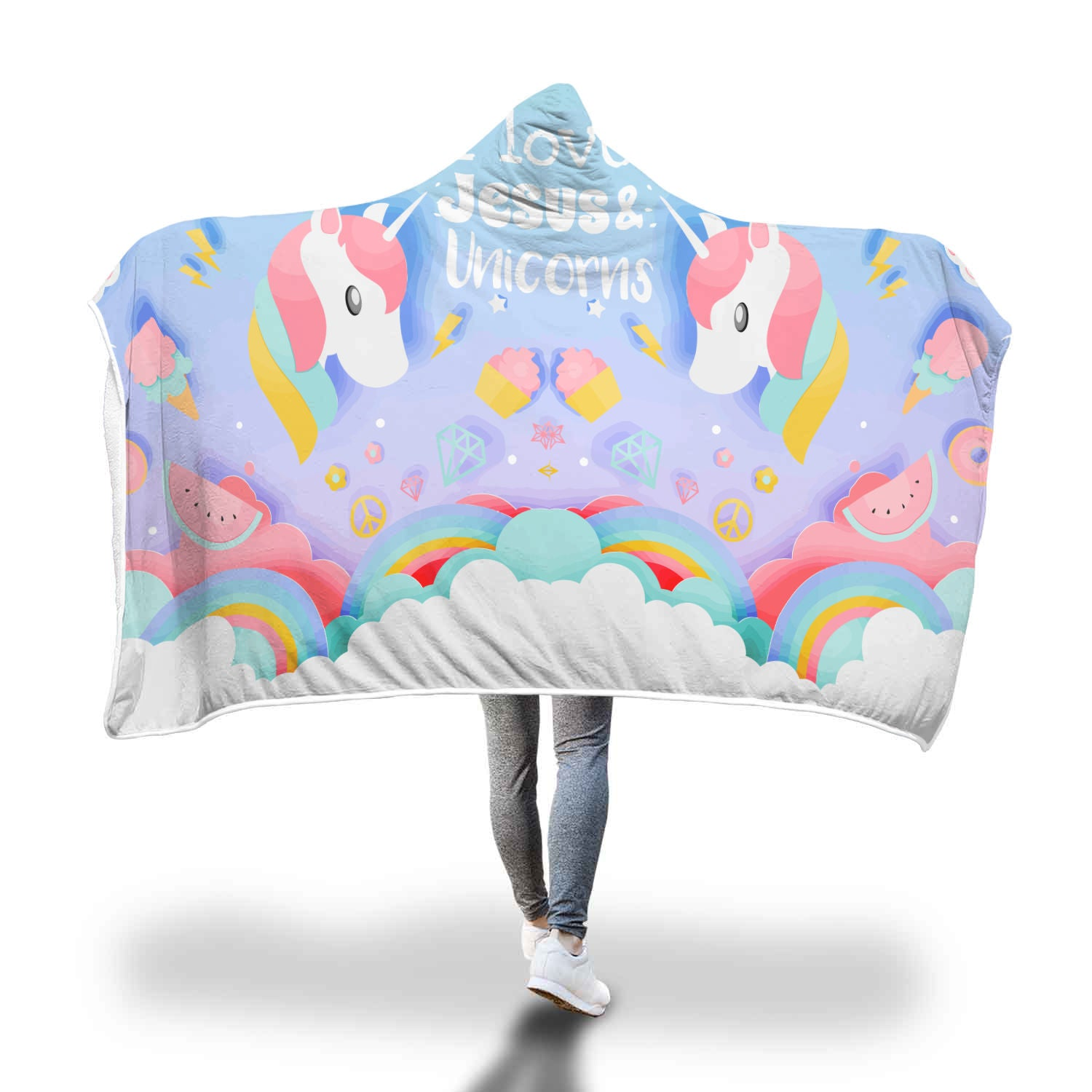 VIRA Awesome Hooded Blanket For Jesus & Unicorns Lovers