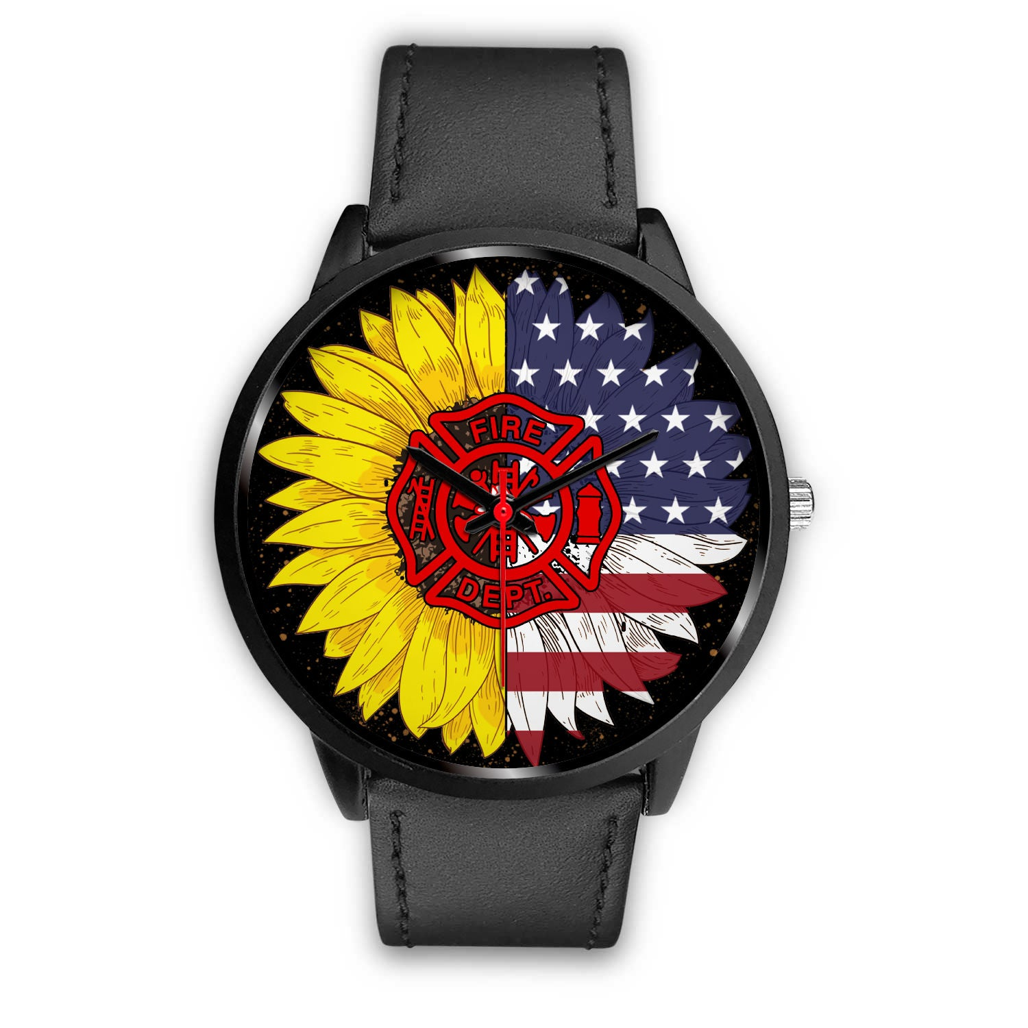 VIRA real genuine leather BAND WATCH FOR FIREFIGHTER And SUNFLOWER LOVERS