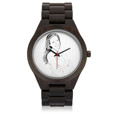 PERSONALIZED WOOD WATCH - PUT YOUR SKETCH PHOTO & ENGRAVE YOUR TEXT ON AN AMAZING WOOD WATCH