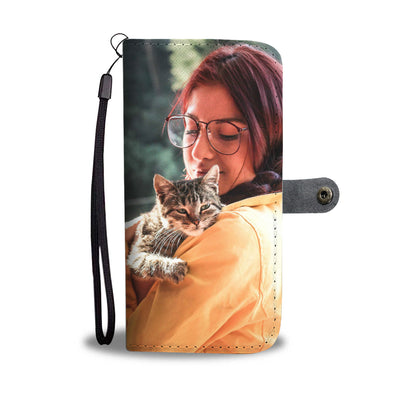 PERSONALIZED WALLET CASE - UPLOAD YOUR  PHOTO WITH CAT MD28