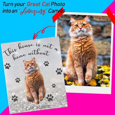 Personalized Canvas- Upload Your Cat Photo and Name