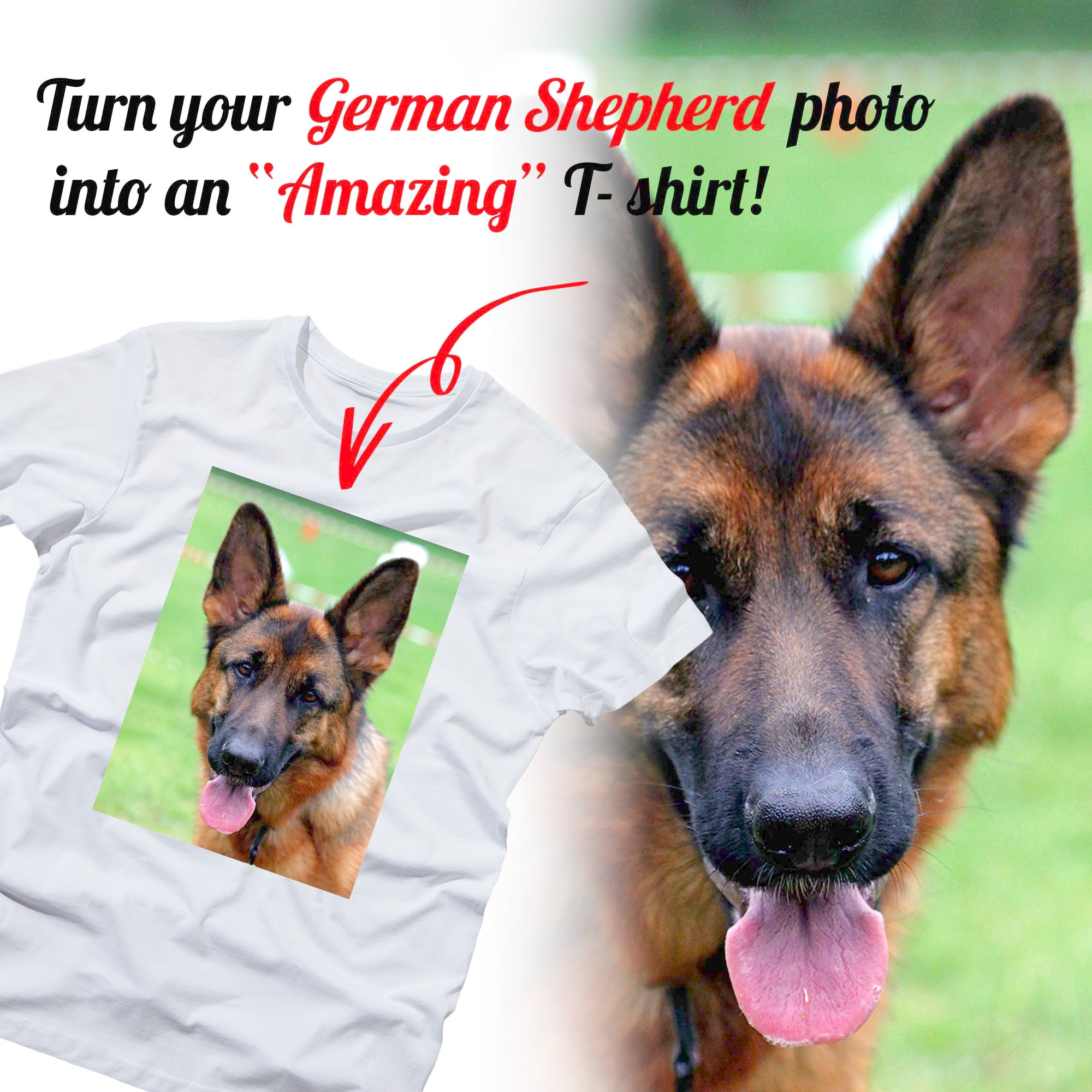 PERSONALIZED unisex t-shirt - upload your GERMAN SHEPHERD photos