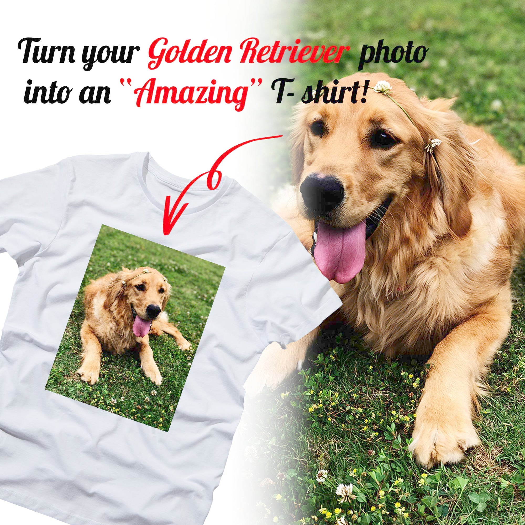 PERSONALIZED unisex t-shirt - upload your GOLDEN RETRIEVER photos