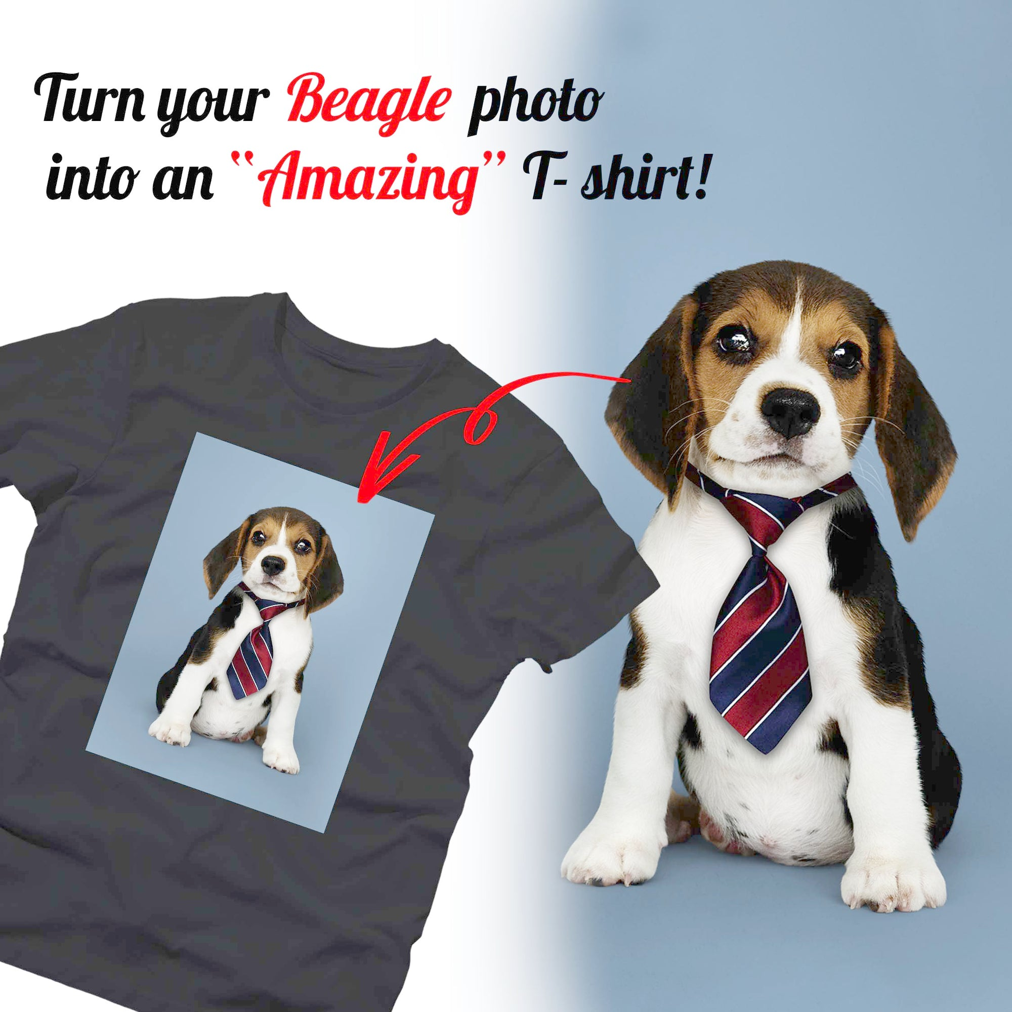 PERSONALIZED unisex T- shirt - upload your BEAGLE photos