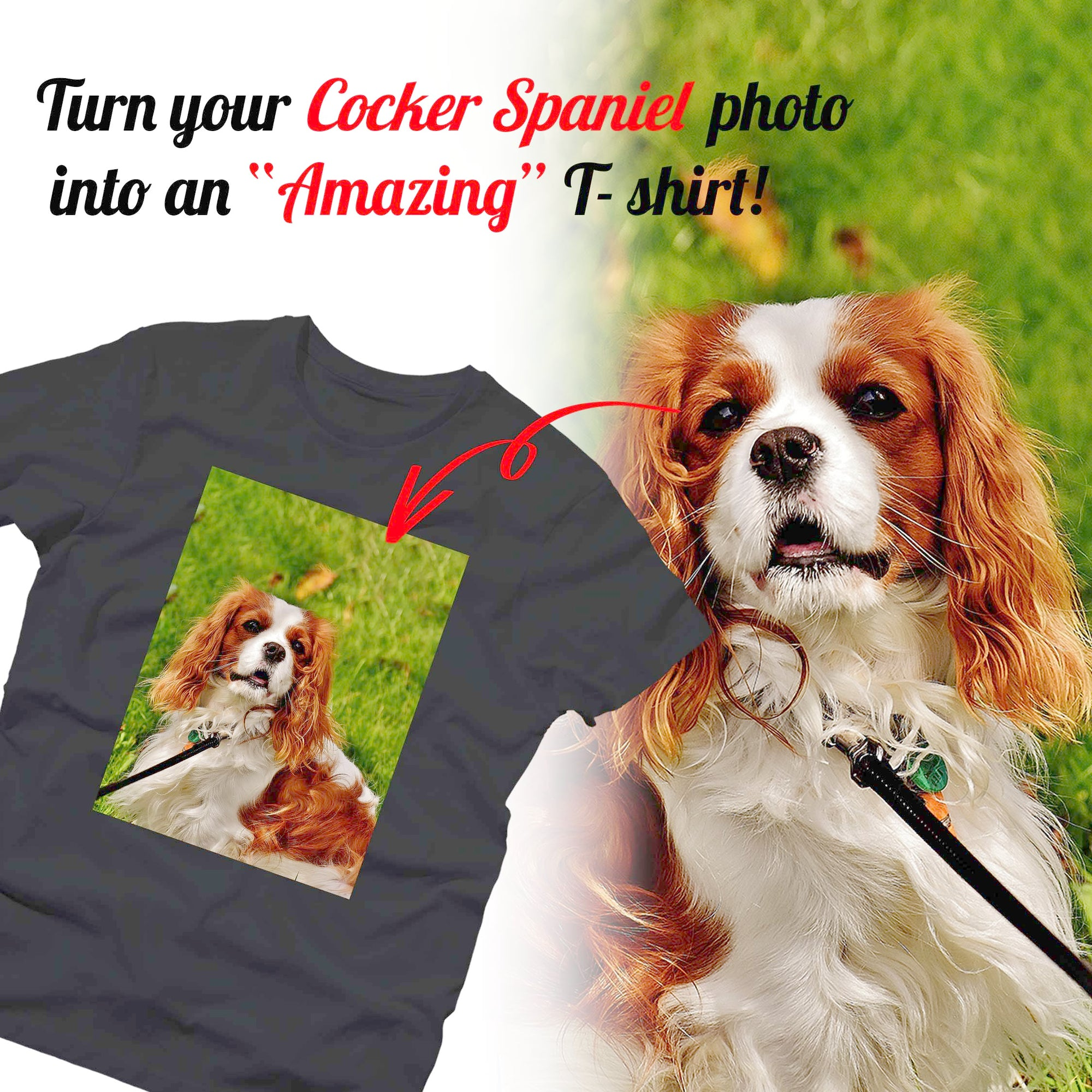PERSONALIZED unisex t-shirt - upload your COCKER SPANIEL photos