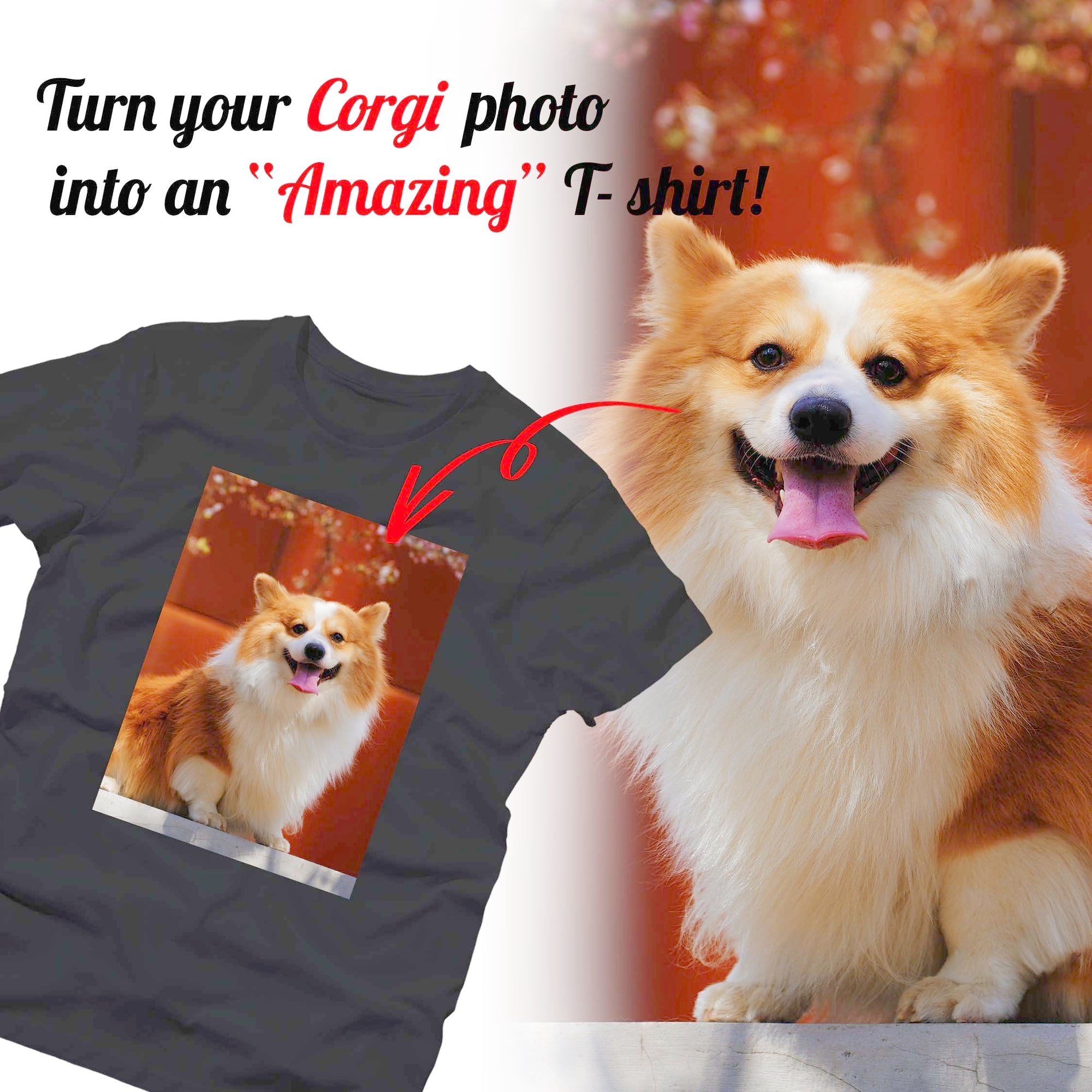 PERSONALIZED unisex t-shirt - upload your CORGI photos