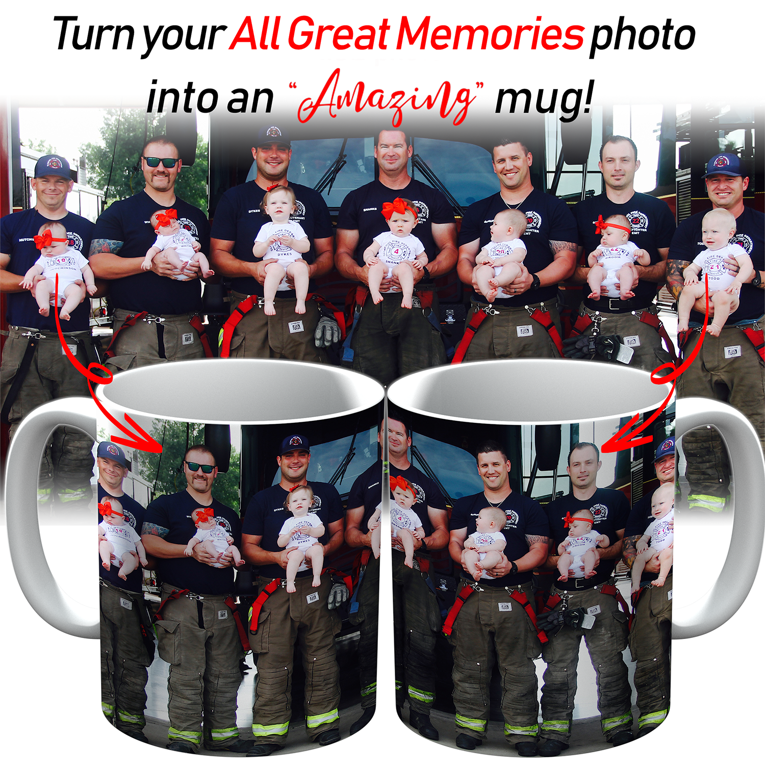 PERSONALIZED MUG - UPLOAD YOUR GREAT MEMORIES WITH BELOVED FIREFIGHTERS