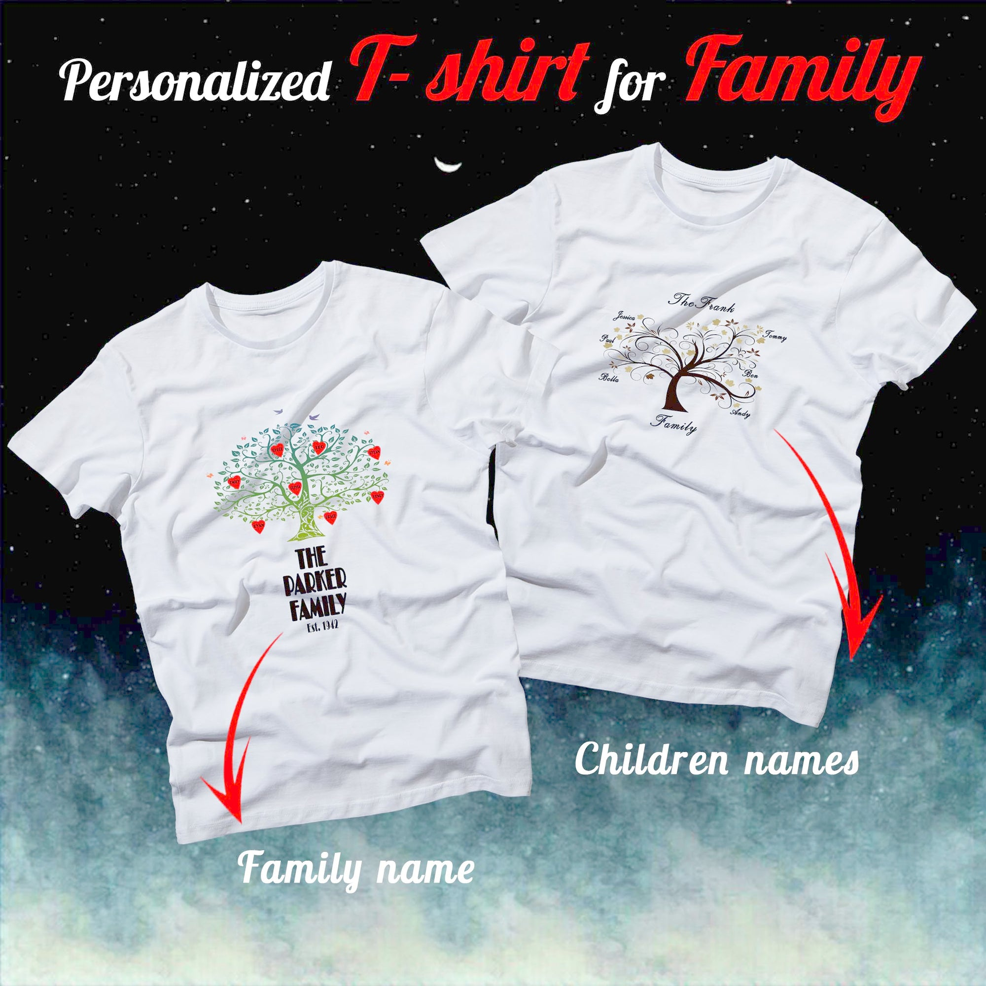 PERSONALIZED UNISEX T- SHIRT - PUT YOUR FAMILY TREE INTO YOUR T- SHIRT