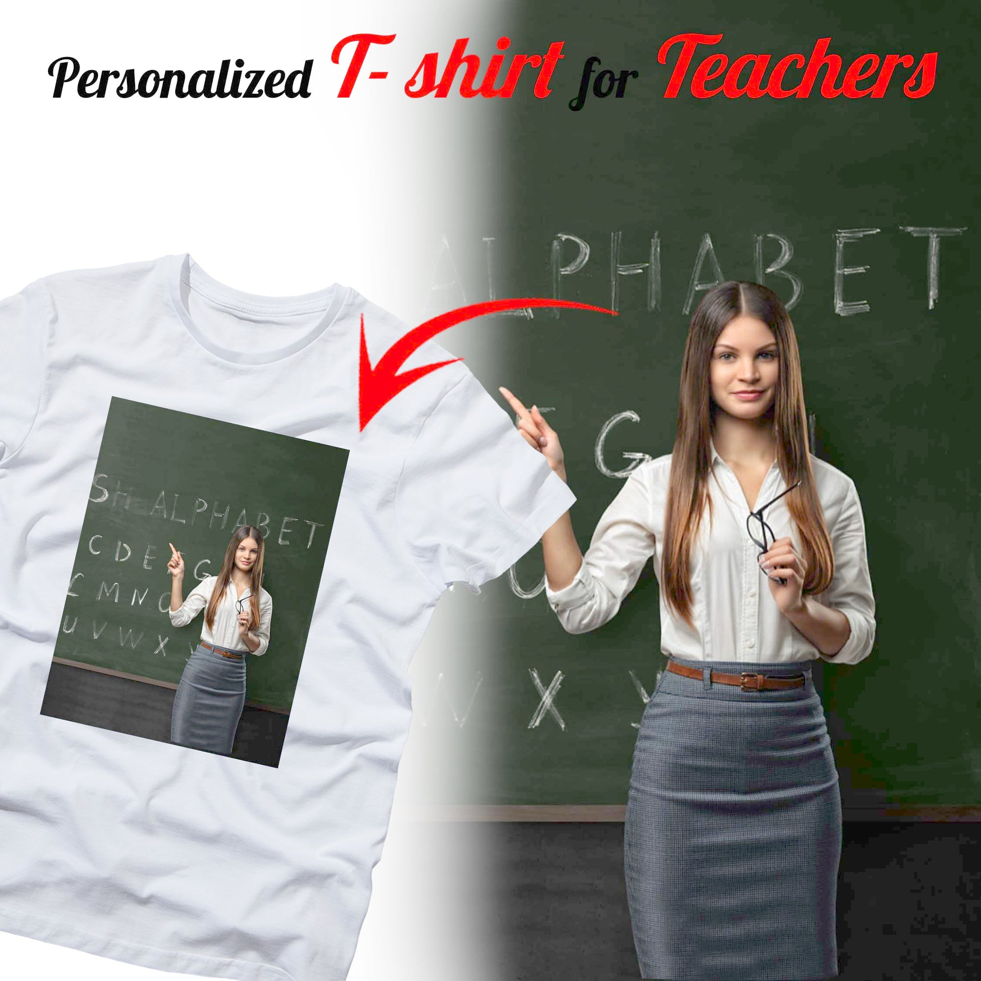 PERSONALIZED t-shirt - upload your beloved teacher photo 1