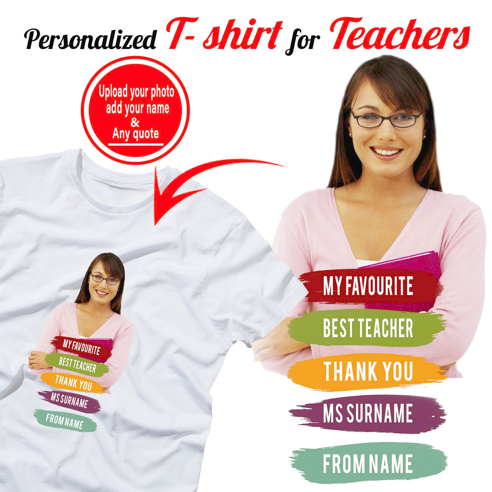 PERSONALIZED T- SHIRT - upload your photo & add any text 2