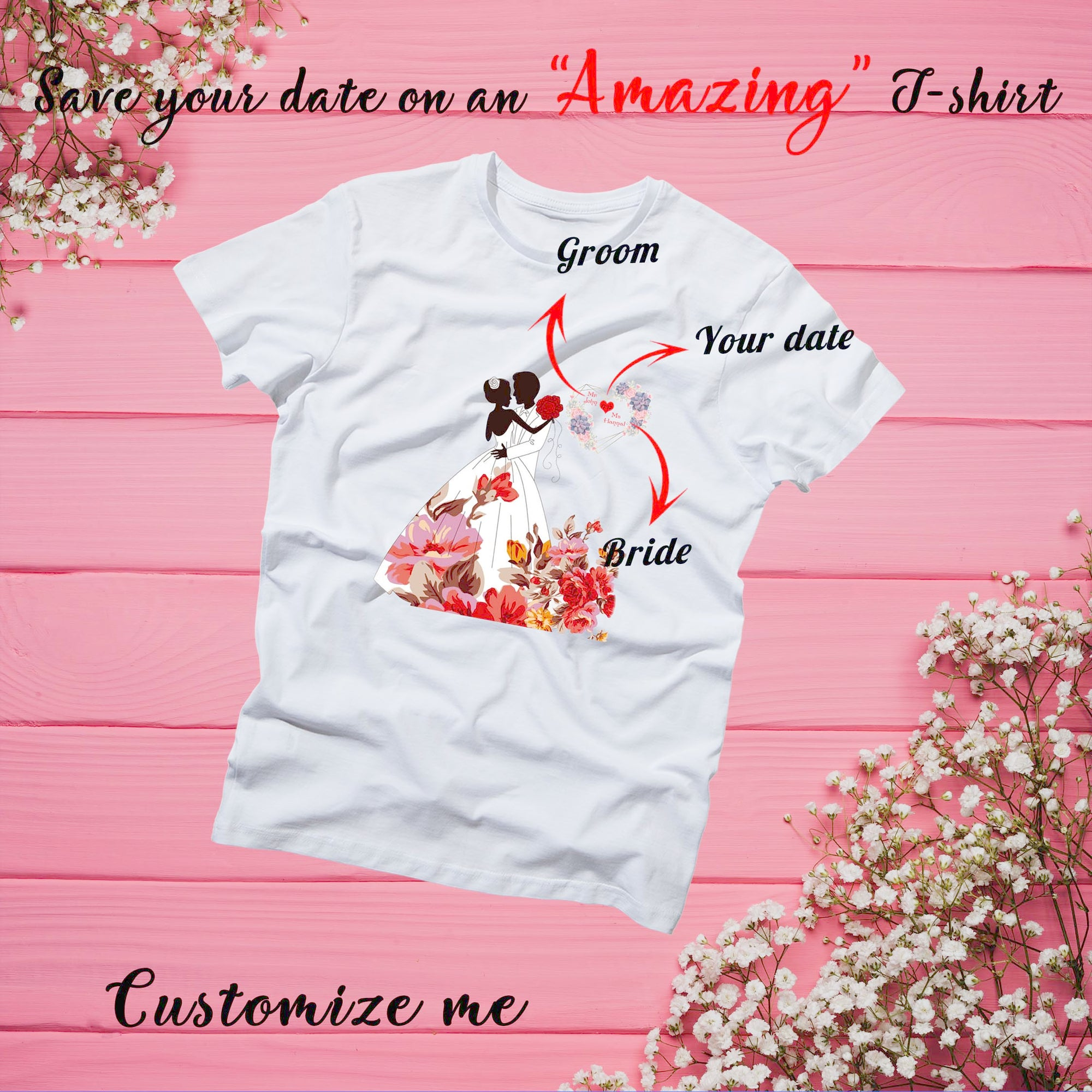 PERSONALIZED UNISEX T- SHIRT FOR COUPLE - UPLOAD YOUR COUPLE PHOTO & SAVE YOUR NAMES ON YOUR T- SHIRT